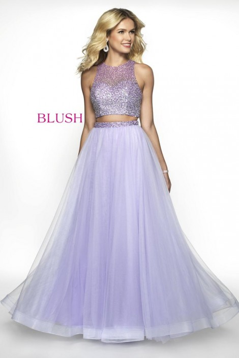 58c705eeaf95 Blush 11746 Beaded Tulle 2 Piece Prom Dress: French Novelty