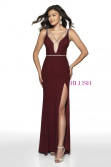 5e7be105aefb0 Blush 11764 Glitter Knit Low Cut Prom Dress