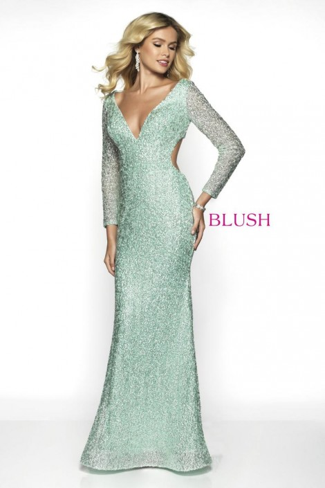 Blush 11783 Long Sleeve Pastel Sequin Gown French Novelty