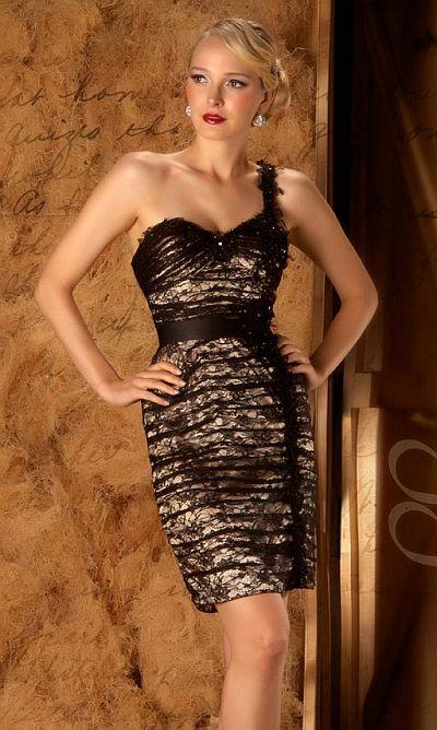 abendkleidapart - Couture Atemberaubende Geometrische Muster Cocktailkleid - Kurzes Kleid bis schwarze Farbe