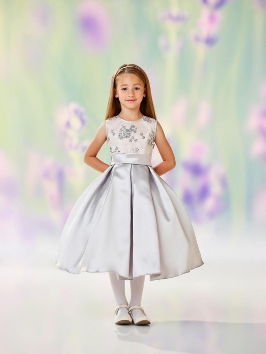 8f100c7a9a3 Joan Calabrese 118313 Lace Satin Flower Girls Dress  French Novelty