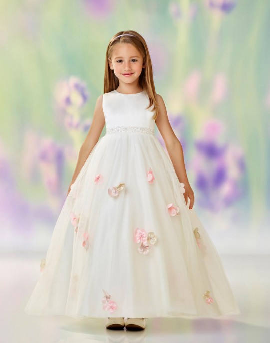 5c3ca26cdbd8 Joan Calabrese 118323 Girls Dress with Scattered 3-D Flowers: French Novelty