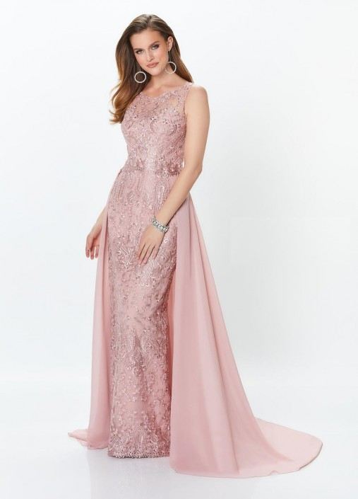 Montage 119940 Lace Gown With Detachable Sleeves And Train