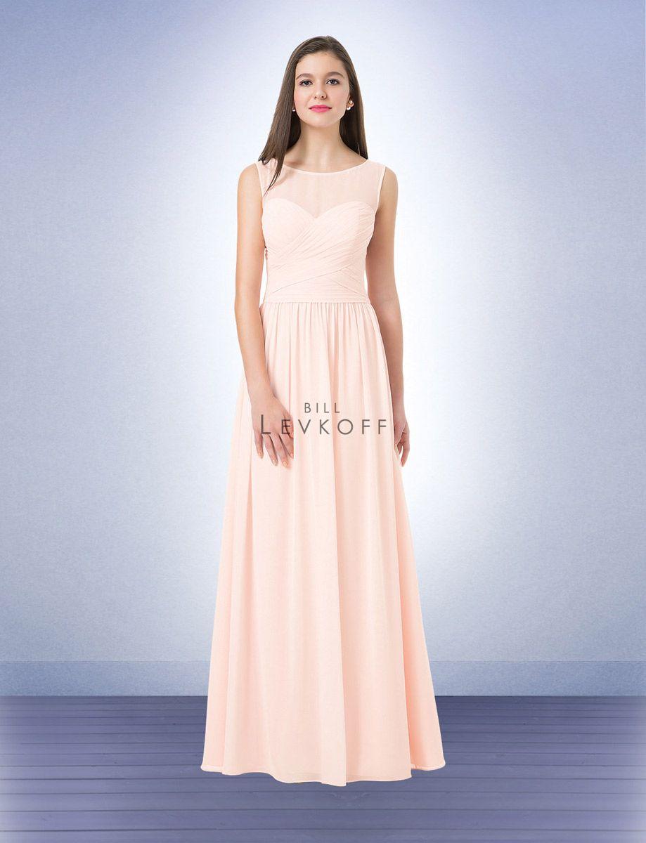 Bill levkoff 1209 long sheer bridesmaid dress french novelty for Wedding dresses in kalamazoo mi