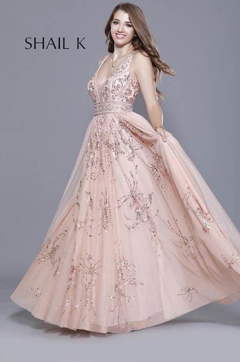Shail K 12103 Sequin Design Flowing Prom Gown: French Novelty