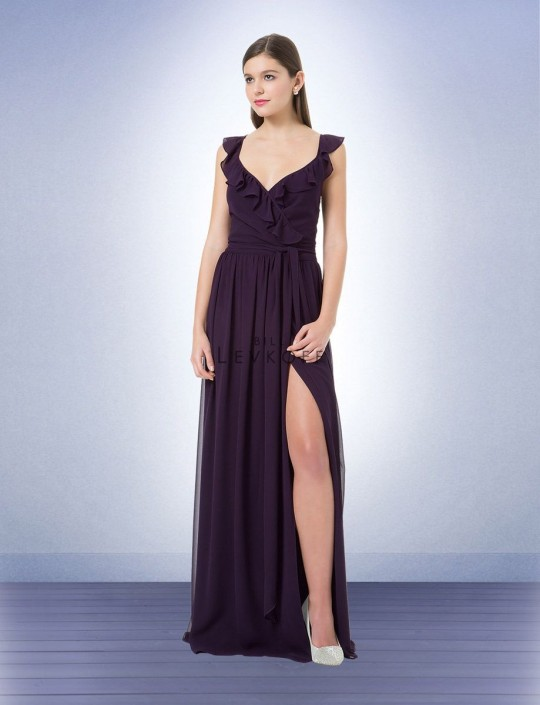ff0dda1ad920 Bill Levkoff 1216 Wrap Bridesmaid Gown with Ruffle: French Novelty
