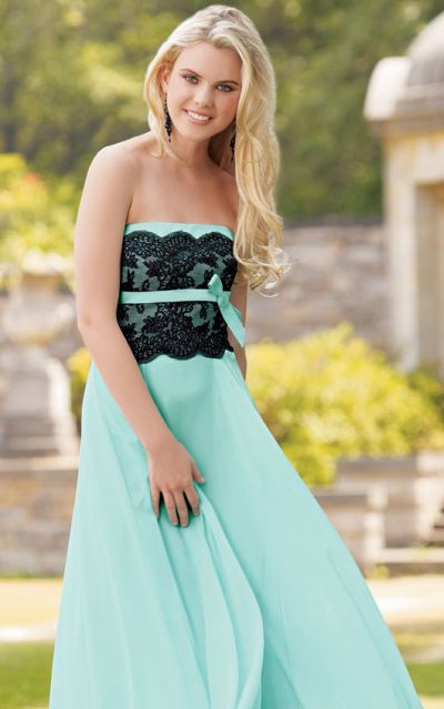 Jordan Long Chiffon Bridesmaid Dress With Black Lace Bodice 122