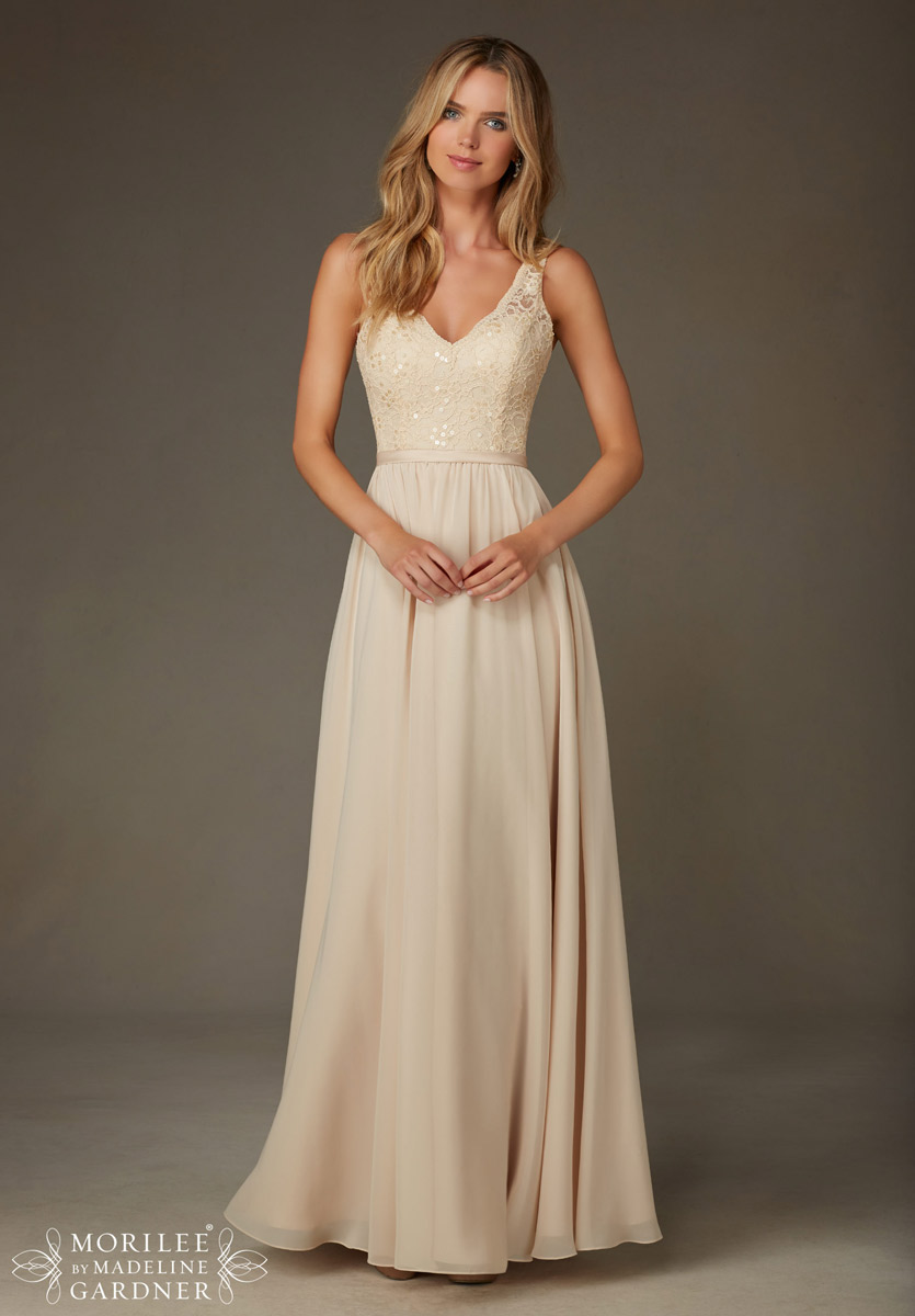 e6c12bdb914 Mori Lee 122 Lace and Chiffon V-Neck Bridesmaid Gown