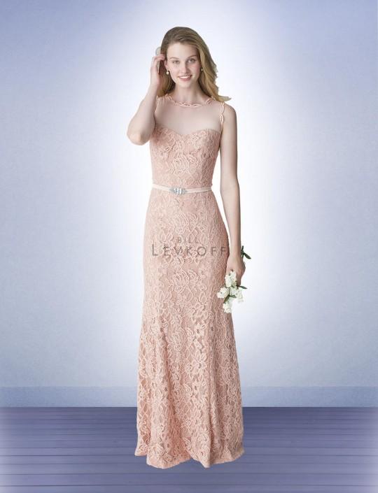867db6e3f2 Bill Levkoff 1253 Illusion Lace Bridesmaid Dress  French Novelty