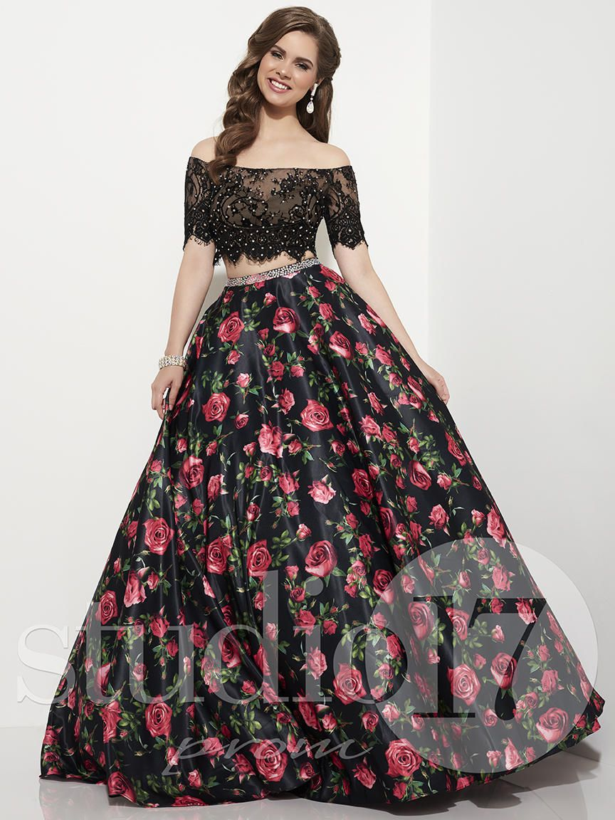Studio 17 12645 Lace And Rose Print Prom Dress French Novelty