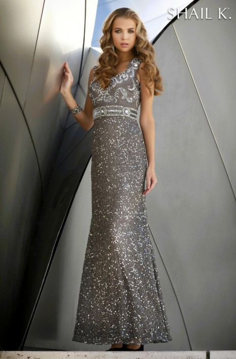 Shail K 1266 Fully Beaded Evening Gown: French Novelty