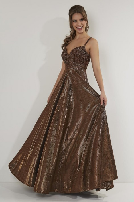72af16895c2 Size 4 Bronze Studio 17 12717 Metallic Taffeta Prom Dress  French Novelty