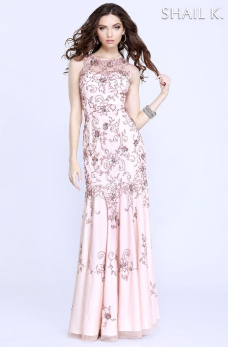 Shail K 1274 Floral Beaded Flowing Gown: French Novelty