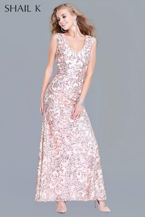 Shail K 1283 Sleeveless Beaded Evening Gown: French Novelty