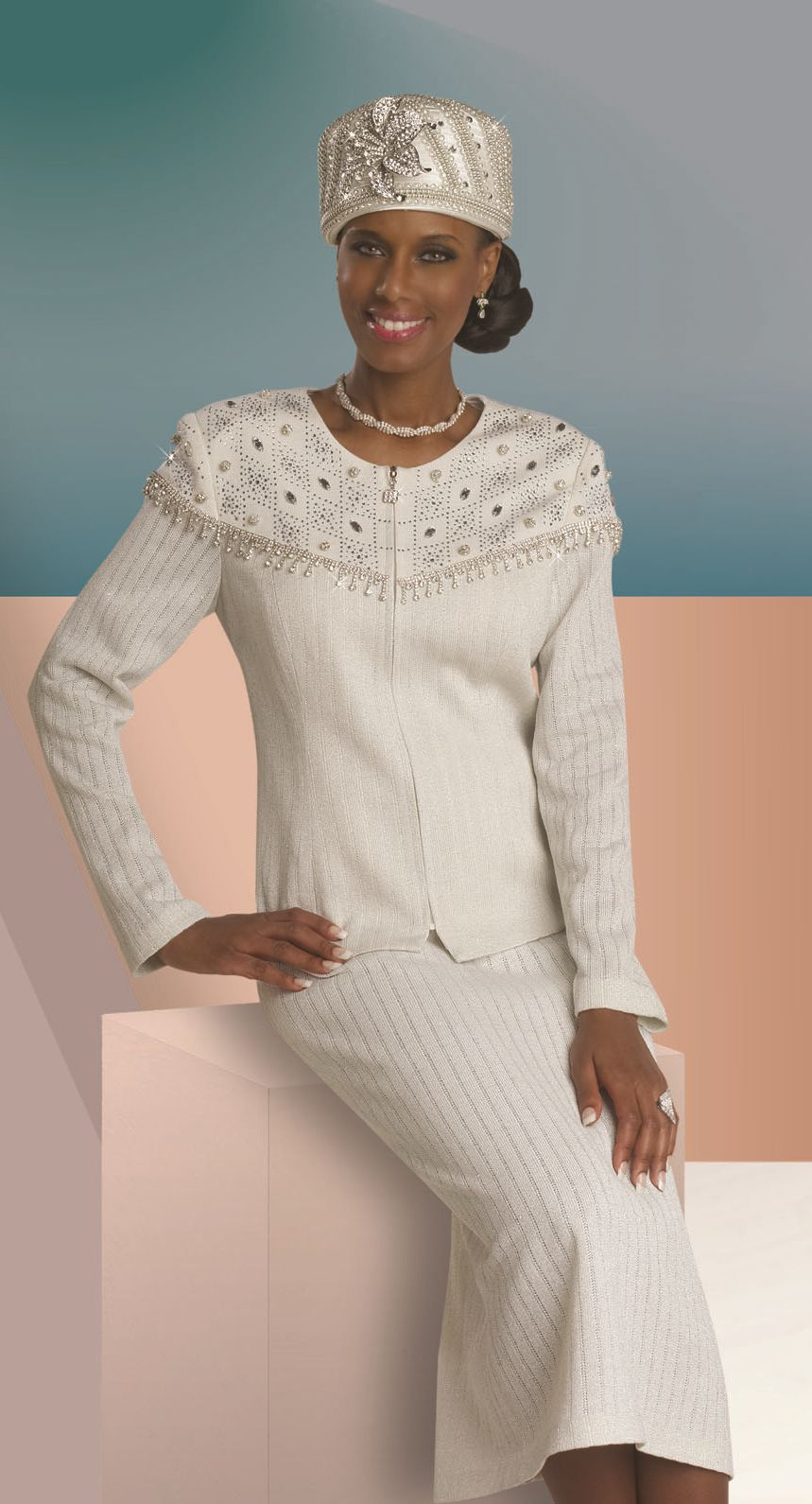 Donna Vinci Knits 13044 Lurex Church Suit - French Novelty