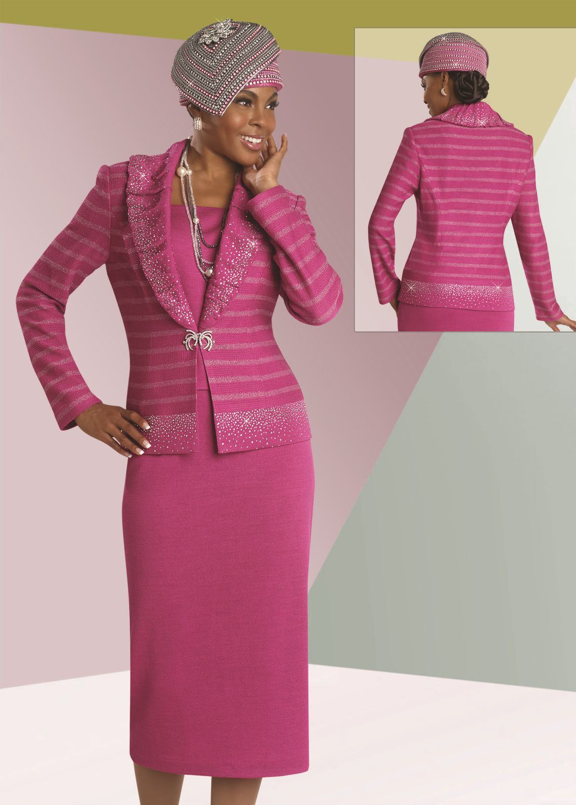 Donna Vinci Knits 13059 Designer Church Suit French Novelty Two