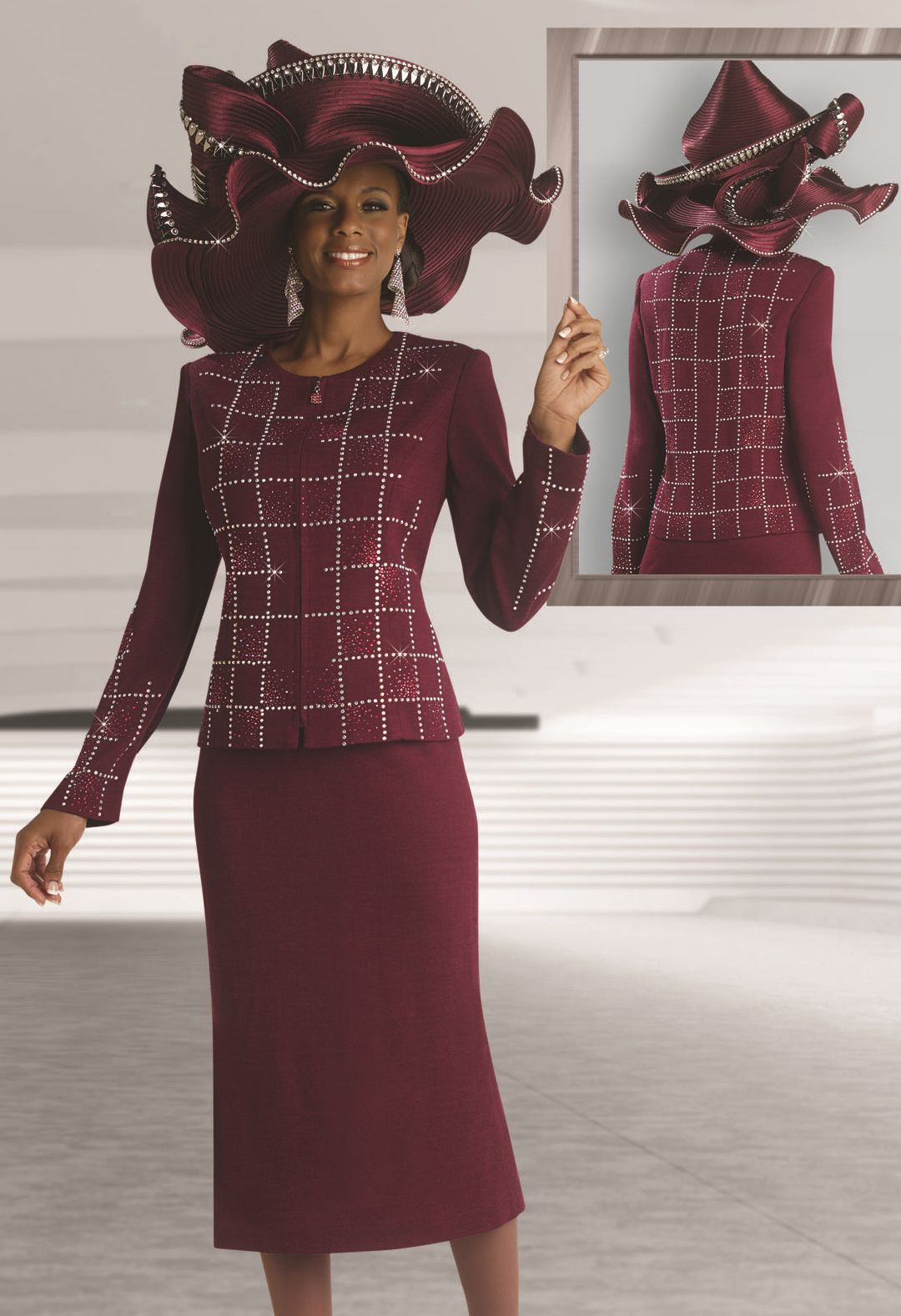 Donna Vinci 13077 Womens Knit Church Suit French Novelty