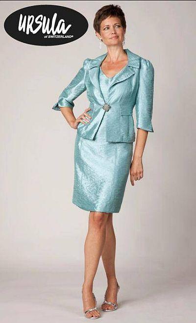 Ursula Antique Satin Short Mothers Wedding Dress 13087: French Novelty