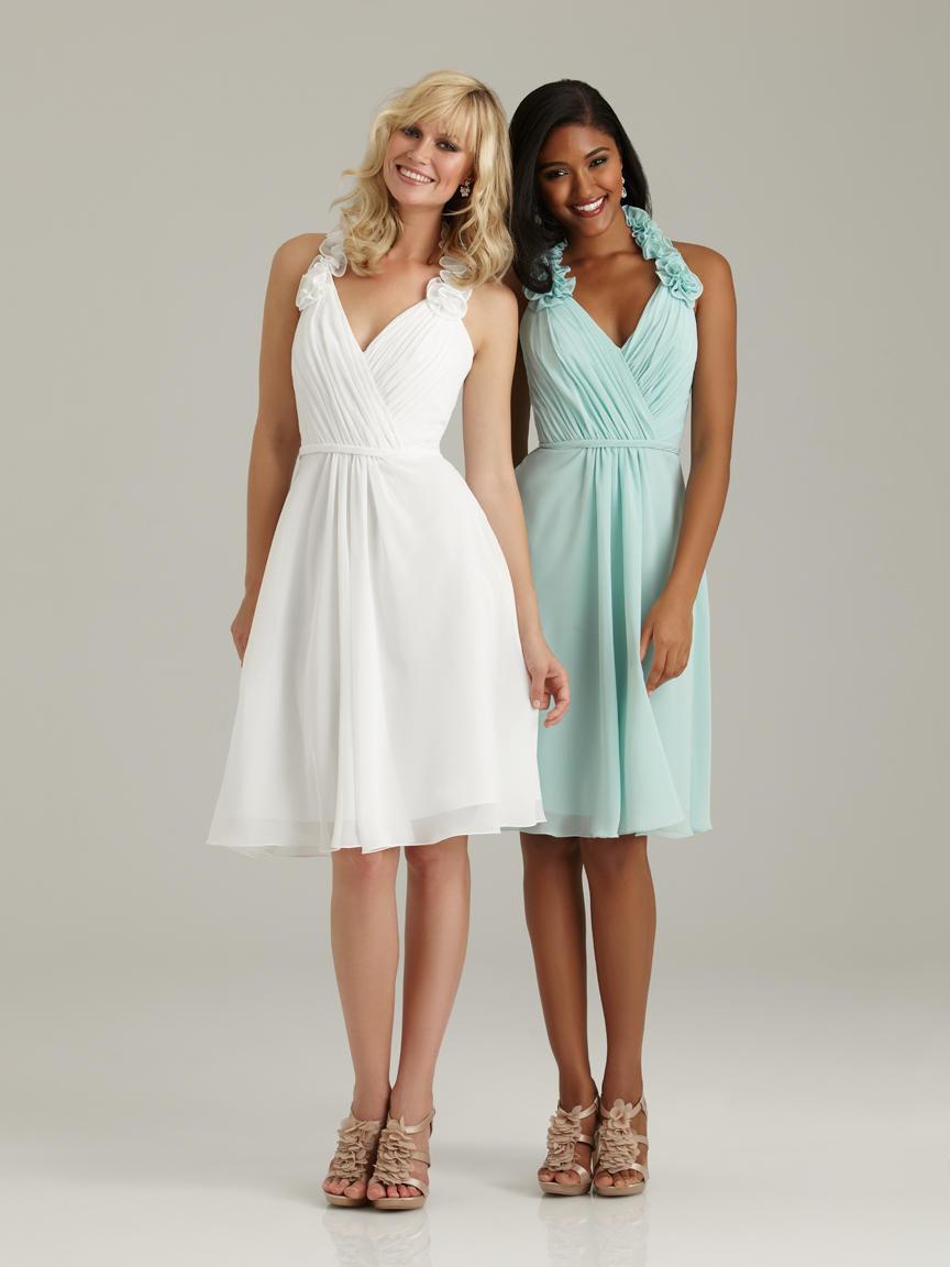 Allure 1309 short ruffle halter bridesmaid dress french for Allure short wedding dress