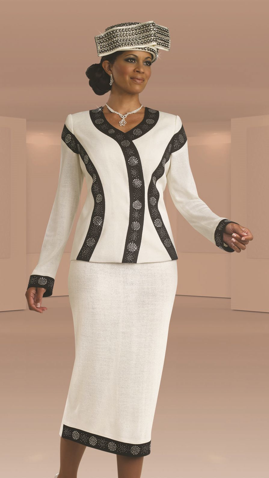 Donna Vinci 13103 Womens Knit Church Suit: French Novelty