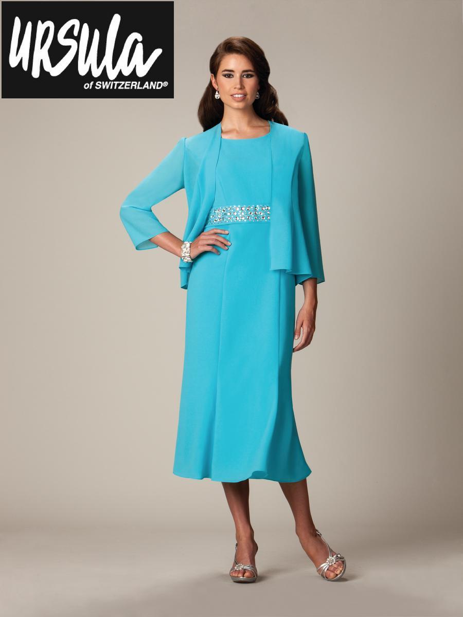 Ursula of Switzerland 13112T Tea Length MOB Jacket Dress: French Novelty