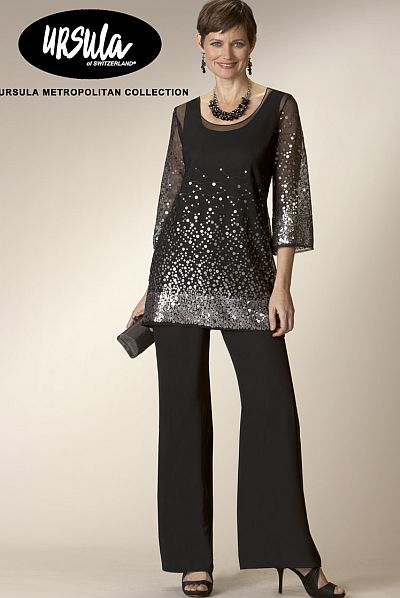 Patra also offers formal pant suits for women in regular, petite and plus sizes. Exuding an airy aura, the chiffon jacket and pants set is paired with a beaded top. The open front jacket features long sheer sleeves that drapes effortlessly over the shiny beaded sleeveless top.