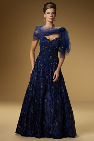 Rina Di Montella 1321 A Royal Blue Mother Of Bride Dress With Shawl