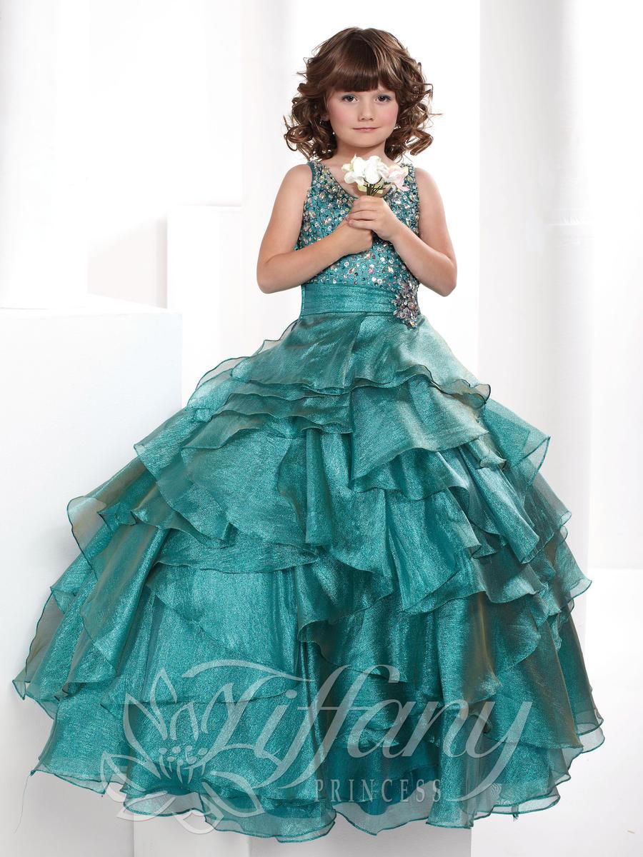 Tiffany Princess 13337 Girls Sparkling Pageant Dress: French Novelty