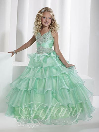 Tiffany Princess 13344 Girls V Neck Pageant Dress French