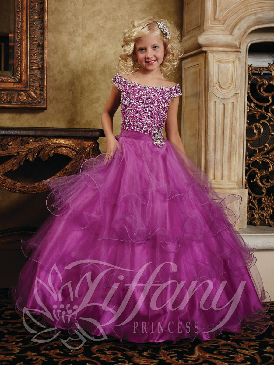Tiffany Princess 13388 Girls Cap Sleeve Ball Gown French