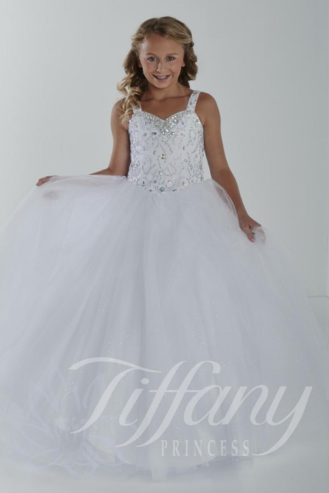 Size 10 White Tiffany Princess 13413 Girls One Shoulder Gown: French ...
