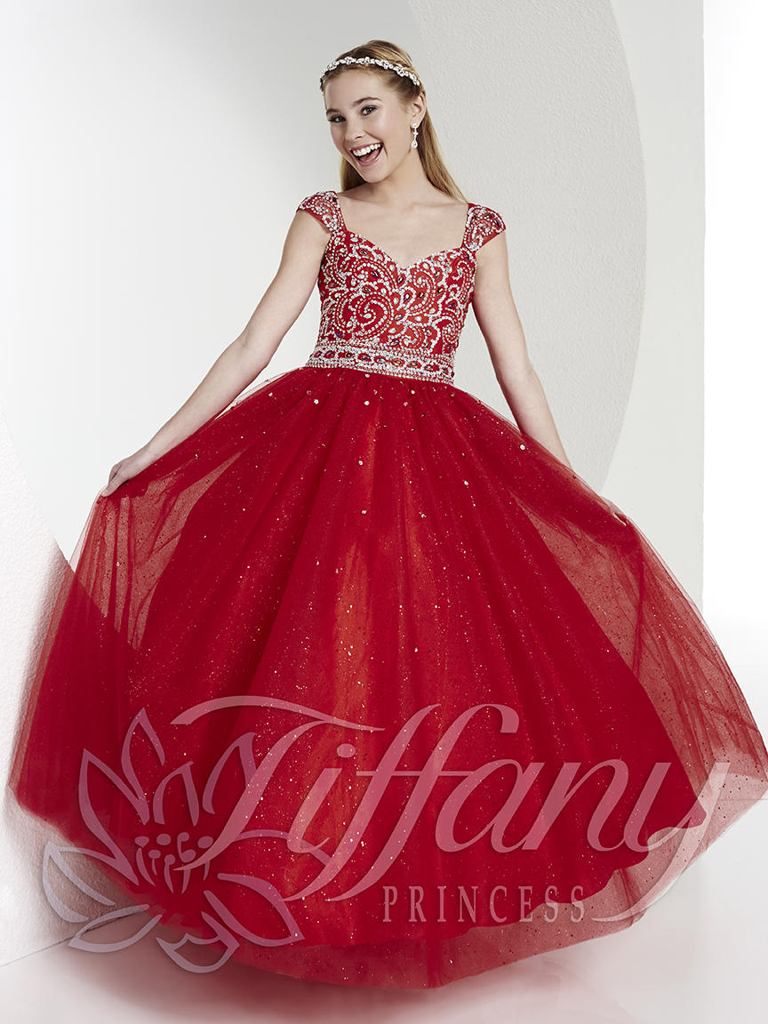 Tiffany Princess 13422 Girls Cap Sleeve Pageant Gown