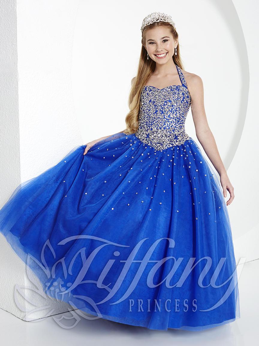 Tiffany Princess 13434 Girls Halter Pageant Dress French