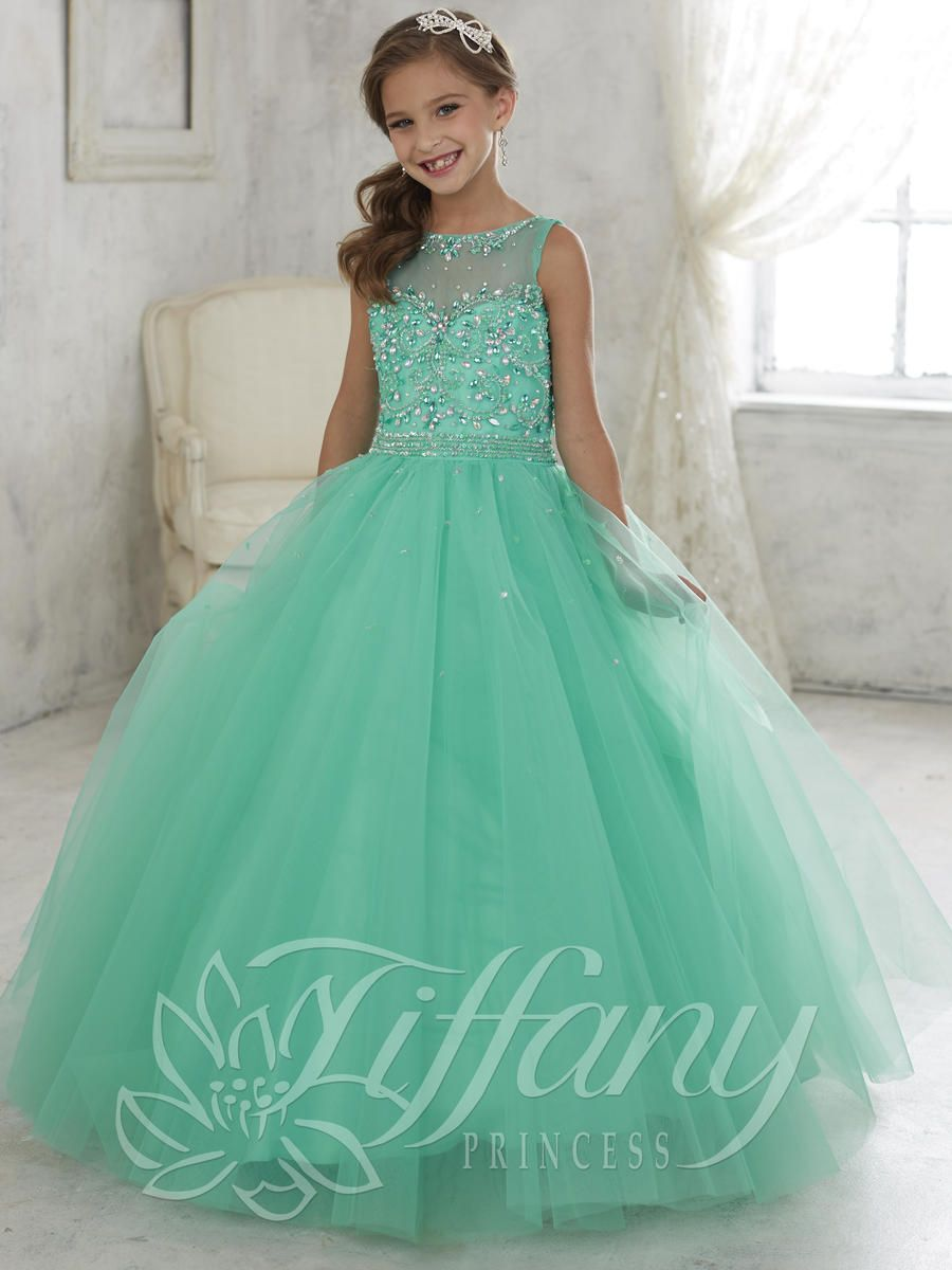 Tiffany Princess 13442 Girls Pageant Dress With Illusion