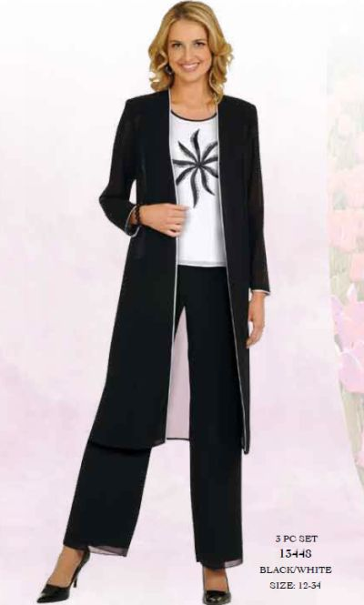 Misty Lane by Ben Marc Womens Black and White Pant Suit 13448 ...
