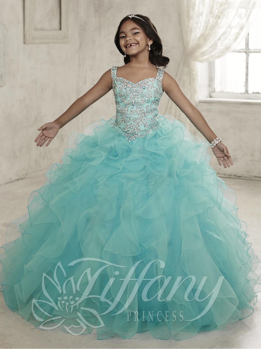 Tiffany Princess 13454 Girls Two Tone Ruffle Tulle Gown