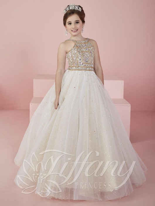 d35876e751f Tiffany Princess 13462 Girls Glitter Tulle Ball Gown  French Novelty
