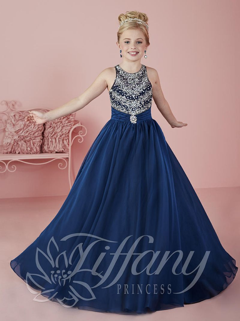 Tiffany Princess 13466 Girls Sparkling Beaded Pageant Dress French Novelty