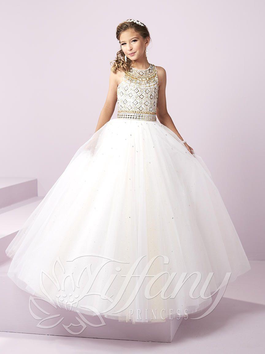 Tiffany Princess 13480 Glitter Tulle Girls Pageant Dress