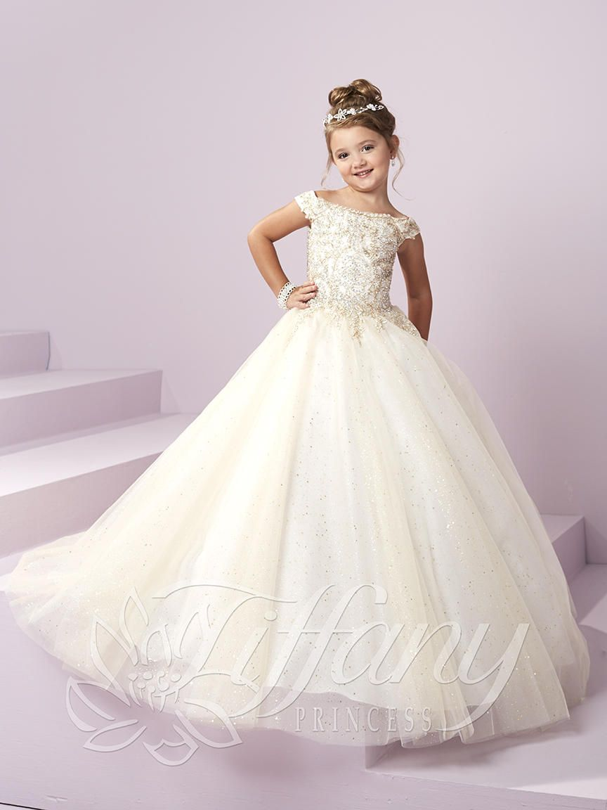 Tiffany princess 13482 off shoulder girls pageant dress for Immediate resource wedding dresses