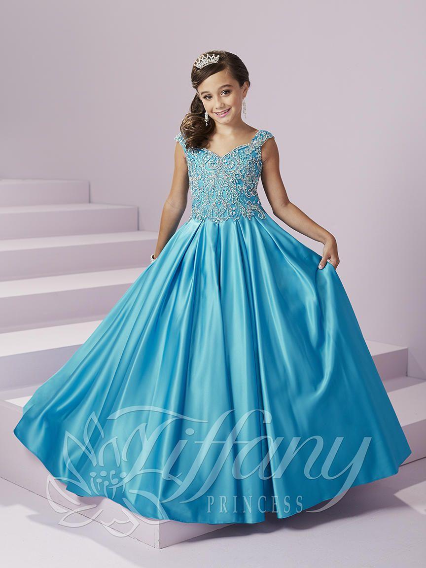 Tiffany Princess 13490 Girls Satin Pageant Dress French