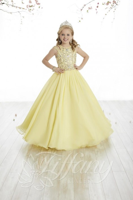 Tiffany Princess 13500 Flowy Chiffon Girls Pageant Gown: French Novelty