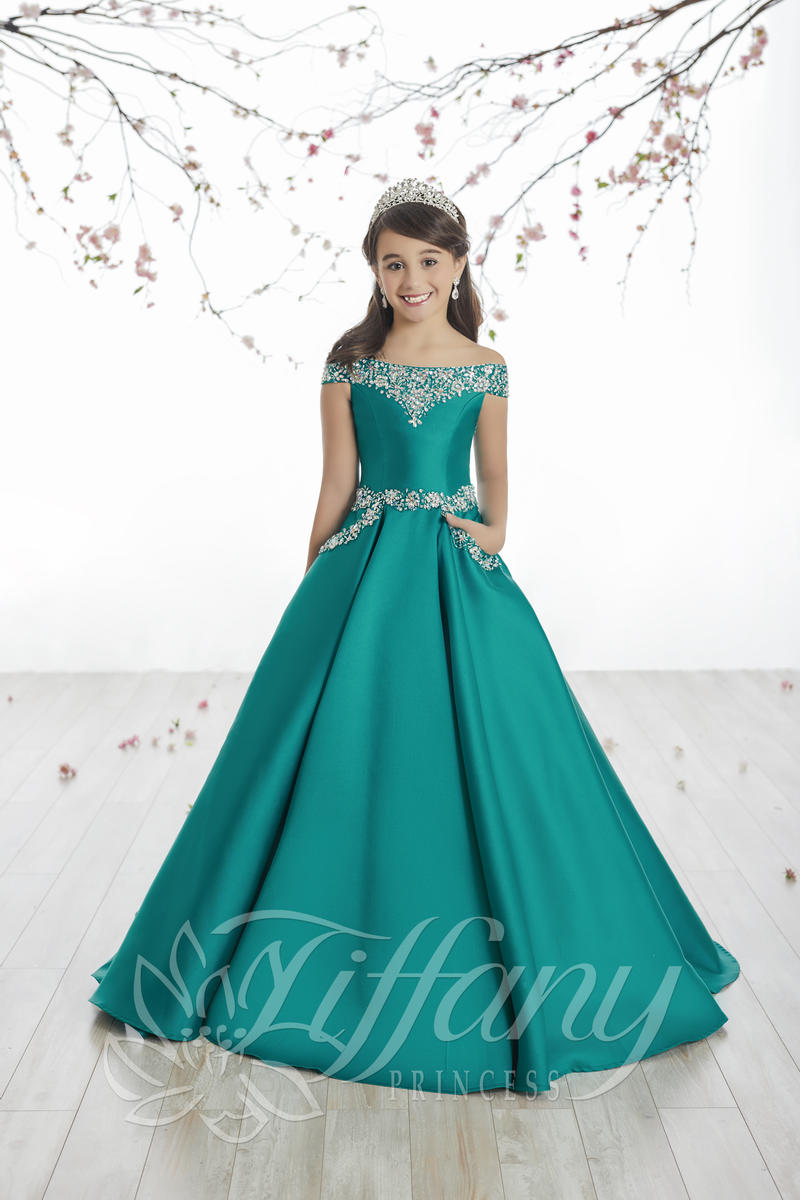 Tiffany Princess 13513 Girls Off Shoulder Mikado Ball Gown ... | 800 x 1200 jpeg 96kB