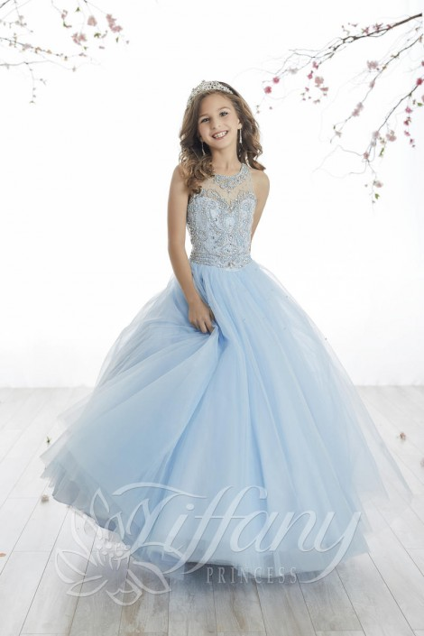 Tiffany Princess 13514 Girls Sheer Beaded Pageant Gown: French Novelty