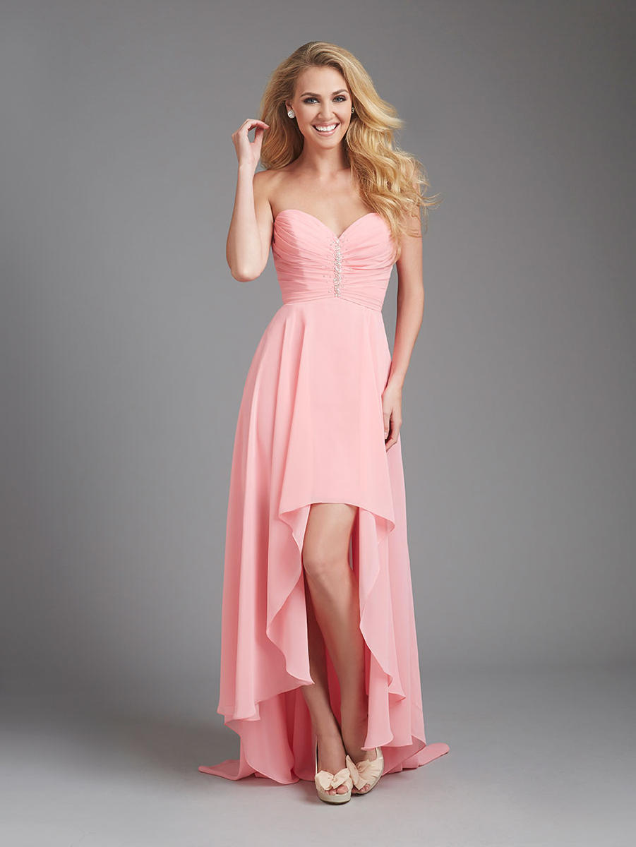 Allure 1361 Sparkling Chiffon High Low Bridesmaid Dress: French Novelty
