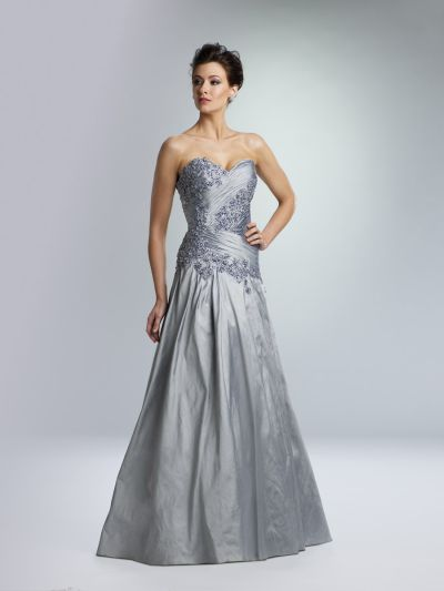 Rina Di Montella 1362 Silk Shantung Formal Gown With Sheer