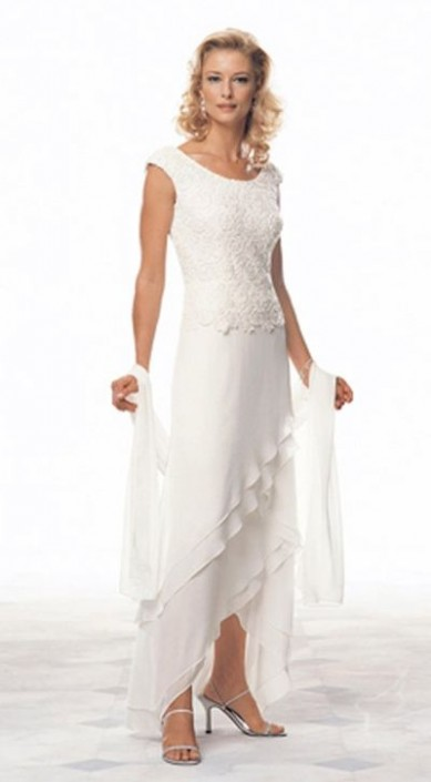 Cameron Blake 13673 Venice Lace Evening Dress with Shawl: French ...