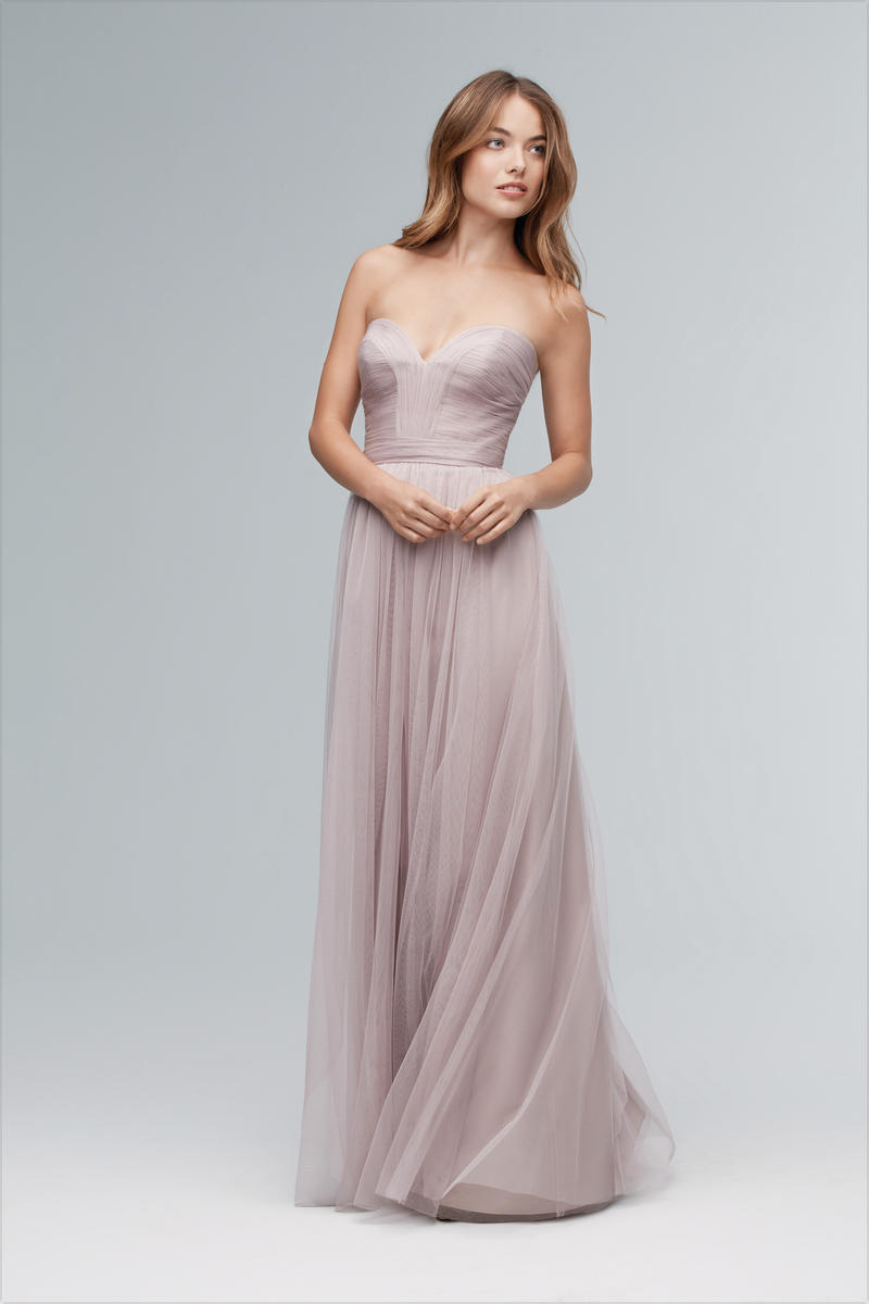 Wtoo 141 Long Strapless Bobbinet Bridesmaid Dress: French Novelty