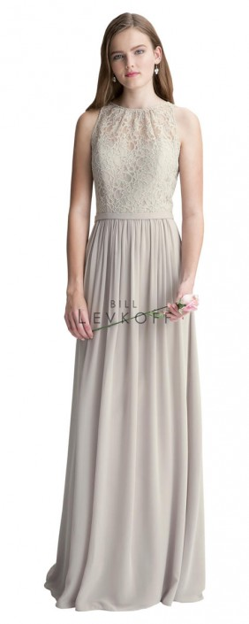 8c799e842cd2 Bill Levkoff 1411 Bridesmaid Dress with Lace Overlay: French Novelty