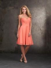 aab1d63ad65 Size 12 Salmon Allure 1414 Draped Chiffon Short Bridesmaid Dress
